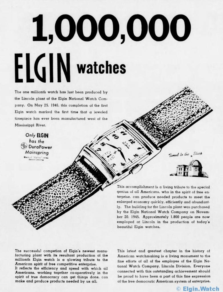 1,000,000 Elgins - Lincoln Plant